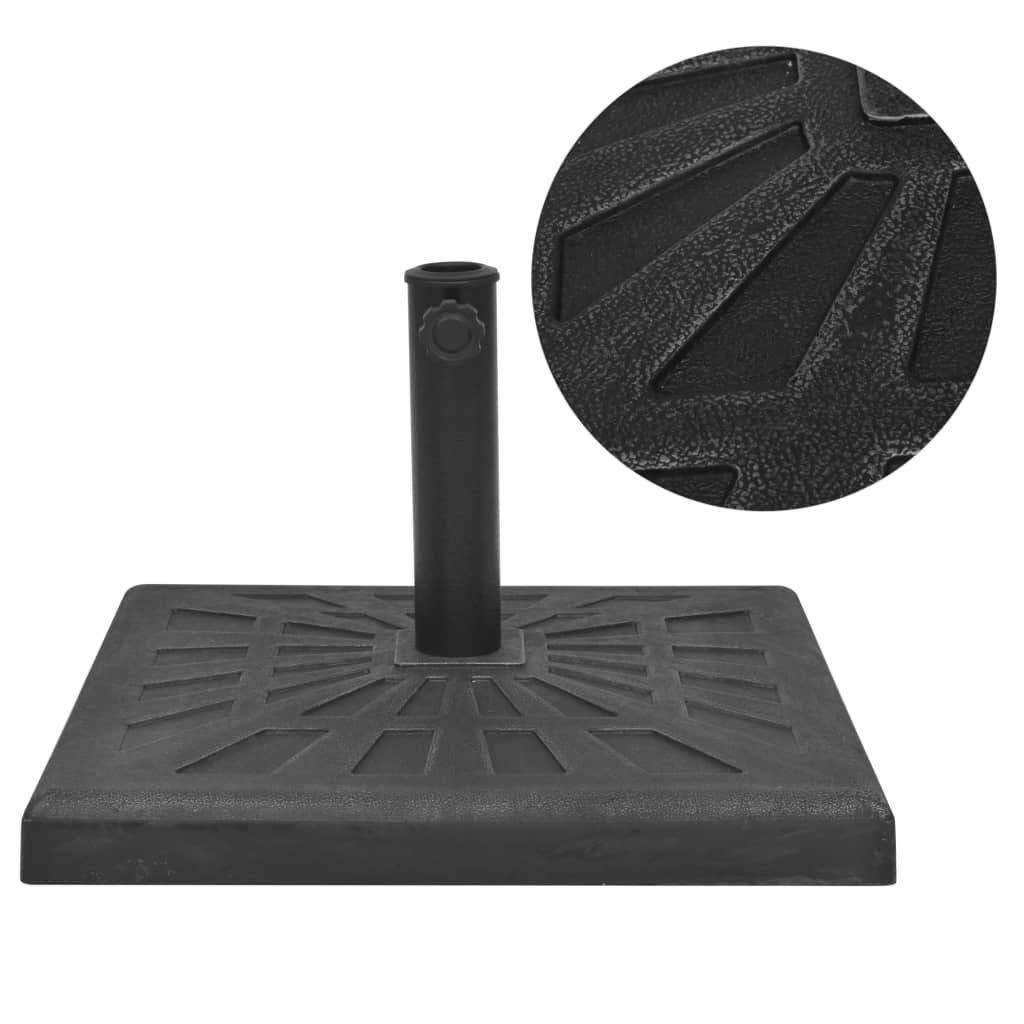 vidaXL Base de Sombrilla Resina Cuadrada Negra 12 kg Soporte Stand Parasol