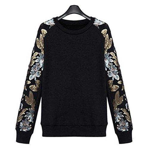 Women's Plus-size Black Embellished Sleeve Pullover Round Neck Fleece 4XL