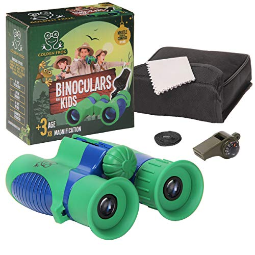 Binoculars for Kids 8 x 21 - Shock Proof Kids Binoculars Set w/ Bonus Safety Whistle, Compass & Temperature Gauge - Binoculars for Bird Watching, Outdoor Play, Hiking, Spy & Camping Gear, Boys & Girls