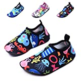 lewhosy Kids Boys and Girls Swim Water Shoes Quick Drying Barefoot Aqua Socks Shoes for Beach Pool Surfing Yoga(24/Jellyfish Black)