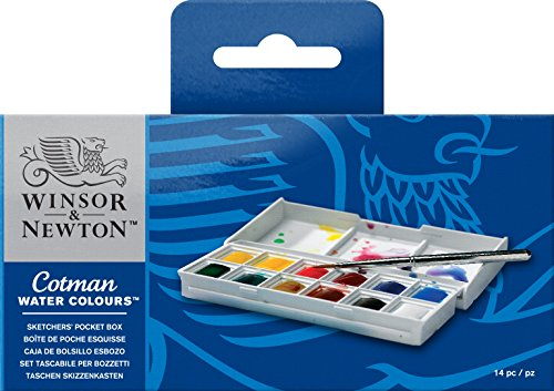 Winsor & Newton Cotman Water Colour Paint Sketchers' Pocket Box, Half Pans, 14-Pieces from Winsor & Newton