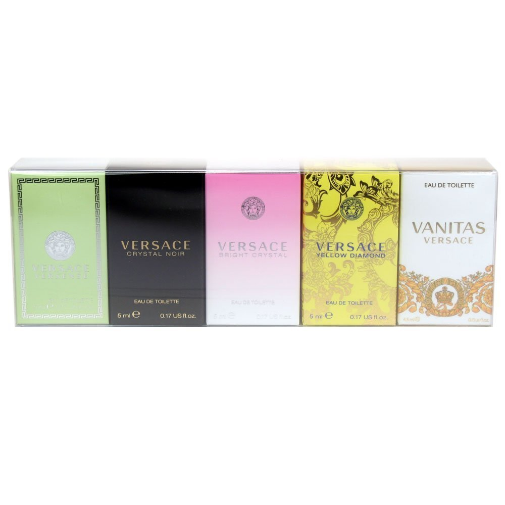 Versace Variety Gift Set Versace Versense EDT 5 ml,Versace Crystal Noir EDT 5 ml Versace Bright Crystal EDT 5 ml Versace Yellow Diamond EDT 5 ml Versace Vanitas EDT 4.5 ml