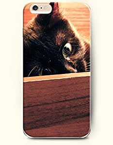 iPhone 6 Case 4.7 Inches Cat Hiding behind the Wood - Hard Back Plastic Phone Cover OOFIT Authentic