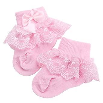 Pack of 4 PrinceSasa Little Baby Girl Princess Lace Ruffles Socks Set