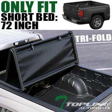 Topline Autopart Tri Fold Soft Vinyl Tonneau Truck Bed Cover For 94-03 Chevy S10 ; GMC S15 / Sonoma ; 96-00 Isuzu Hombre 6 Feet ( 72