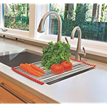 Rollup Drying Rack Over Sink Kitchen Space Saver Produce Dish Dishes Counter