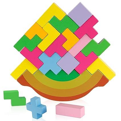 Coogam Wooden Stacking Tetris Toy – Rainbow Tangram Building Balance Blocks  Game Puzzle STEM Montessori Educational Gift for Toddler Kid Teen Adult