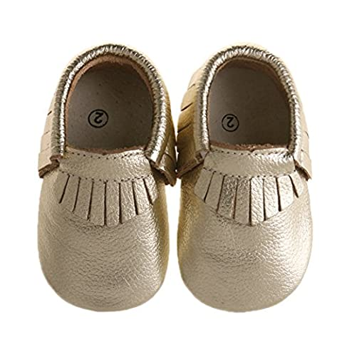 """Pidoli Girls Leather Baby Moccasins Infant Toddler Soft Sole (0 2.5M 0-3Month 3.93"""" Infant, Gold) - Leather Baby Moccasins"""