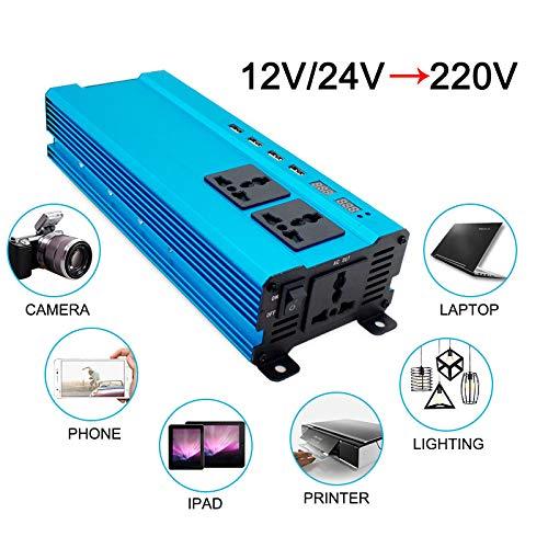 Car Inverters - 10000Watt 4USB DC 12V to AC 220V Portable Car Power Inverter Charger Converter Adapter DC 12 to AC 220 Modified Sine Wave (DC12-AC220V 6000w)
