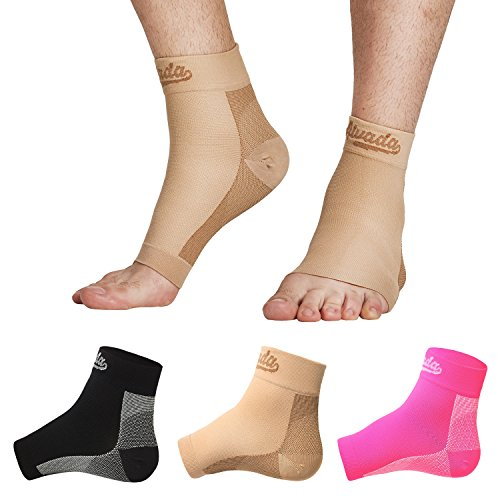 AIvada Plantar Fasciitis Support Compression Socks Foot Sleeves - Comfortable Arch Support - Quick Pain Relief, Reduced Soreness - Graduated Compression Brace - Faster Recovery Nude SM