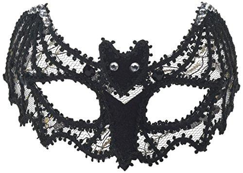 Forum Novelties Women's Lace Bat Half Mask Glasses, Black, One Size -