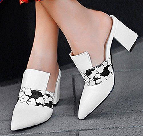 Pointu on Talon Bloc Femme Slip Mules Blanc Cérémonie Mode Bout Easemax qBtCSxtAw