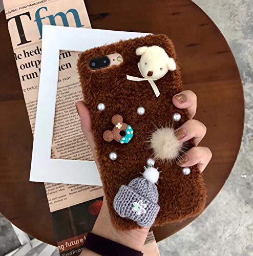 1 piece maosenguoji winter hot fashion Bear hat luxury Handmad Plush funny Mobile Phone Case for iphone 6 6s 6plus 7 8 plus X XR XS MAX