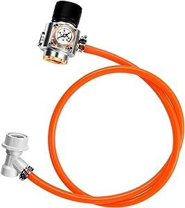 LQKYWNA CO2 Keg Charger Kit 0-90 PSI Stainless Steel Mini Gas Regulator Soda Beer Keg Co2 Regulator for Soda Maker Sparkling (with hose)