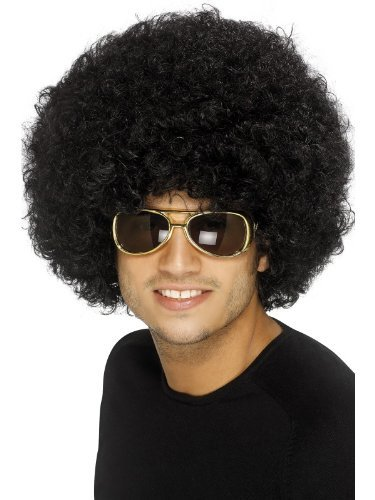 Smiffy's Men's 70's Funky Black Afro Wig, Black, One Size, 120g, (Black Afro Wig)
