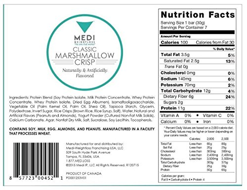 Medi-Weightloss Classic Marshmallow Crisp - 100 calories, 7.4 Oz (Pack of 7) High Protein Bars - Nutritional - For Diet / Weight Loss & Hunger Control