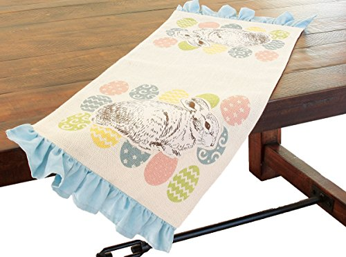 - Xia Home Fashions Bunny Eggs Printed Applique Jute Easter Table Runner, 13.5 by 36-Inch, Natural
