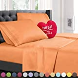 Full Size Bed Sheets Set Apricot Orange, Highest Quality Bedding Sheets Set on Amazon, 4-Piece Bed Set, Deep Pockets Fitted Sheet, 100% Luxury Soft Microfiber, Hypoallergenic, Cool & Breathable