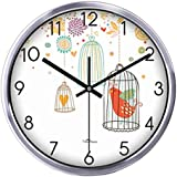 Creative Cage Living Room Decorative Silent Round Wall Clocks 12 inches,Silvery