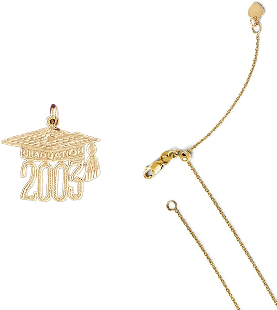 14K Yellow Gold Graduation Cap Diploma on an Adjustable 14K Yellow Gold Chain Necklace
