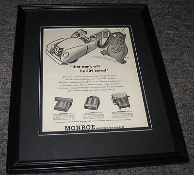 (Monroe Machines ORIGINAL 1951 Framed Advertisement Promotional Photo 8x10)