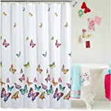 Eforcurtain Butterflies Print Bath Curtain Waterproof/Mildew Proof Fabric Shower Curtain Multi Color (72WX72L)