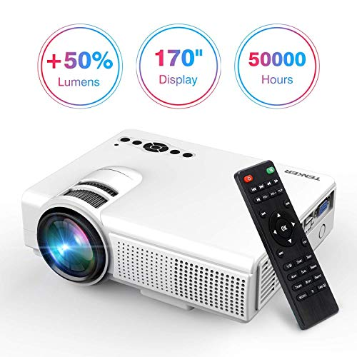 TENKER Upgrade Lumens Q5 Mini Projector, with Big Display LED Full HD Video Projector, Compatible with 1080p HDMI, Fire TV Stick, VGA, USB, AV for Home Theater Entertainment, Party and Games (White) from TENKER