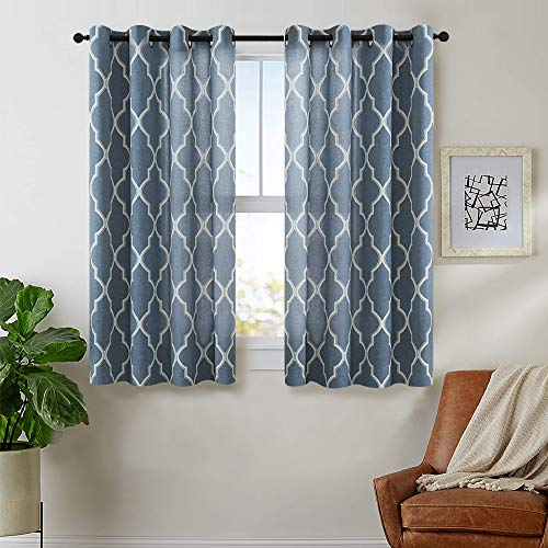 Curtains Print 54 inch Lattice Moroccan Tile Flax Linen Blend Curtain Textured Grommet Quatrefoil Window Treatment Set for Living Room Kitchen Blue 2 - Blend Fabric Drapery Linen