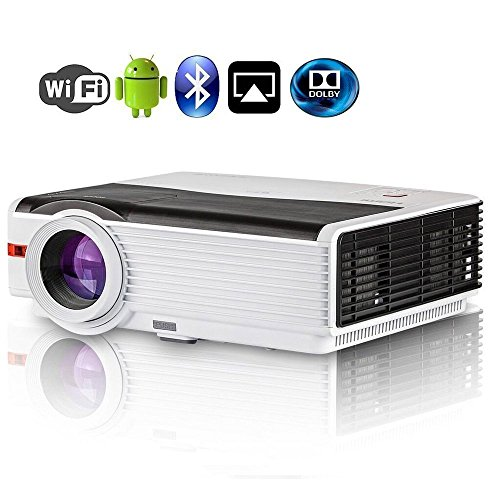 CAIWEI Bluetooth Projector Android, 4200 Lumens Wireless Home Theater Cinema Support Full HD 1080P Happycast Airply DLNA with HDMI USB VGA Port for iPhone iPad PC Smartphone, Video Beamer with Speaker by CAIWEI