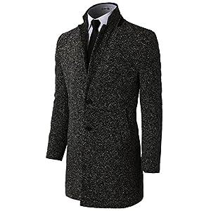 H2H Mens Casual Slim Fit Wool Overcoat Knee Length Trench Coat Topcoat Lightgray US XL/Asia 4XL (KMOCO0108)