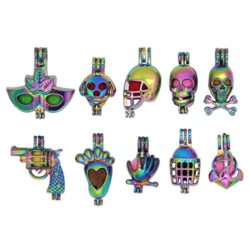 (Bruin 10pcs Rainbow Skull Gun Pearl Cages Pendant Essential Oil Diffuser Craft Jewelry Making Locket Necklace Charms)