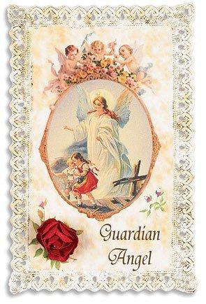 Lace Holy Prayer Card with Silk Rose Flower Keepsake Guardian Angel W Cherubs
