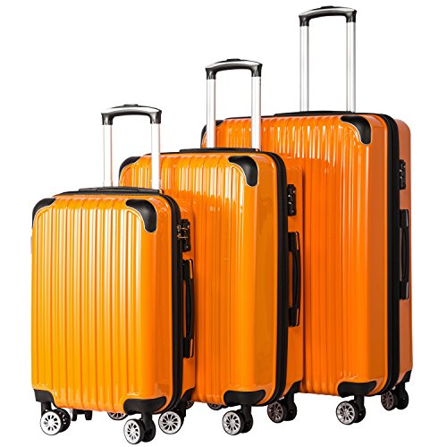 Coolife Luggage Expandable 3 Piece Sets PC+ABS Spinner Suitcase 20 inch 24 inch 28 inch (orange) (Orange Expandable Set Luggage)