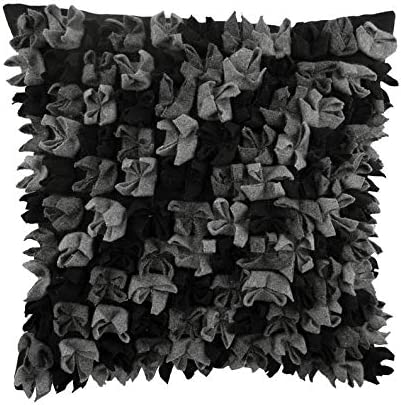 The HomeCentric Luxury Black European Pillow Shams 26×26 inch 65×65 cm , Felt Euro Pillow Shams, Abstract, Origami, Fabric Manipulation, Textured, Modern Euro Size Pillow Covers – Midnight Punch