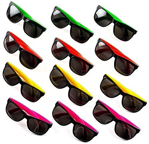 CUZAIL Party Favors Neon Sunglasses for Kids and Adults - Bulk Pack of 12 - Pool Party - Goody Bag Fillers - Party Supplies -