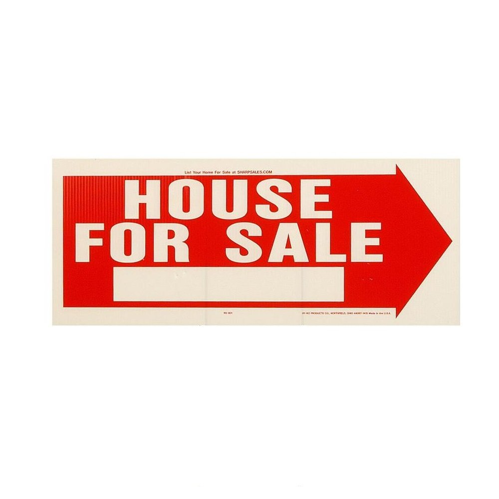 """Hy-Ko Products RS-801 House for Sale Corrugated Plastic Sign w/H Bracket, 9.25"""" x 24"""", Red/White"""