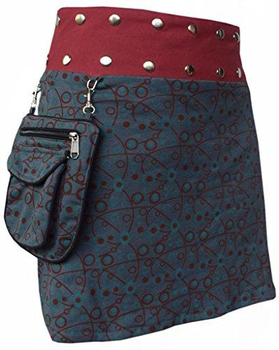 Boutons Rversible Motif Amovible C avec Coton Floral Femme Poche pression en et KATHMANDU LITTLE Courte Jupe pour nW0Pq