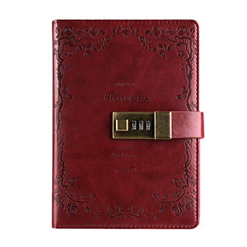 CLARA Vintage PU Leather Business Notebook Combination Lock Notebook Lock Diary Journal Notepad Writing Book Wine Red