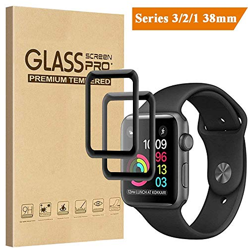 [2 Pack] Compatible for Apple Watch Screen Protector 38mm Series 3/2/1, Tourist [Full Coverage] Tempered Glass 3D Curved Edge 9H Hardness Anti-Scratch Bubble Free Easy Installation, Black
