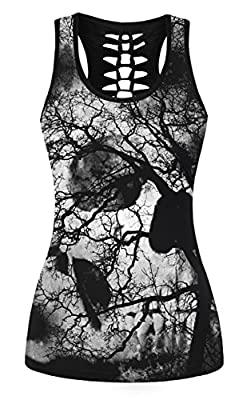 Nawoshow Women's 3D Skull Print Hollow Out T-shirt Sleeveless Tank Top Vest