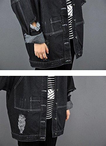 Mujeres Chaquetas Jacket De Mezclilla Loose Fit Casual Manga Larga Abrigo Corto Denim Jacket Cazadora Vaquera Larga Negro