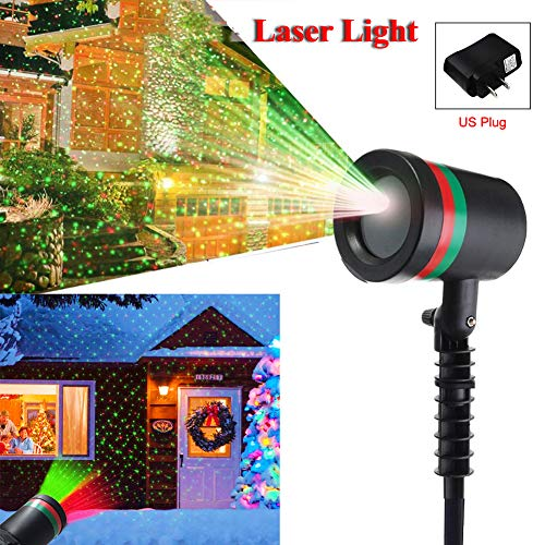 Mayround Christmas Star Laser Projector Light LED Moving Full Sky Star Stage Green&Red Lamp Indoor Outdoor Landscape Laser Light Christmas Decorations Landscape Lawn Garden Light [US Plug]]()
