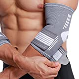 Neotech Care Elbow Brace, Support, Sleeve - Elastic & Breathable Fabric - Adjustable Compression Strap/Band - For Men, Women, Right or Left Arm - Gray Color (Medium Size)