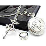 Full Metal Alchemist Pocket Watch Necklace Ring Edward Elric Anime Cosplay Gift