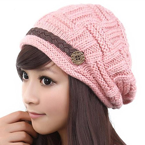 Kafeimali Women's Braided Warm Winter Baggy Beanie Oversized Crochet Ski Hats Knit Caps Snowboard Caps (Pink) ()