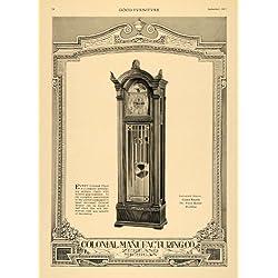 1917 Ad Hall Clock Colonial Manufacturing Zeeland Decor - Original Print Ad