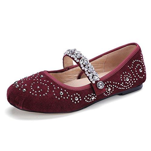 Round Flats Women's Nine Seven Heel Buckle Flat Toe Rhinestones Ballet Suede Handmade Leather Burgundy x7f67
