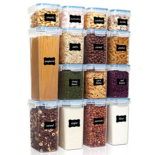 Vtopmart Airtight Food Storage Containers Set with Lids, 15pcs BPA Free Plastic Dry Food Canisters for Kitchen Pantry…