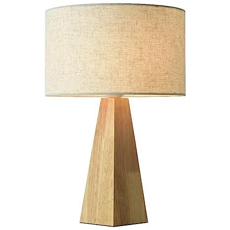 Lámpara de Mesa STBD, lámpara de mesita de Noche de Madera ...
