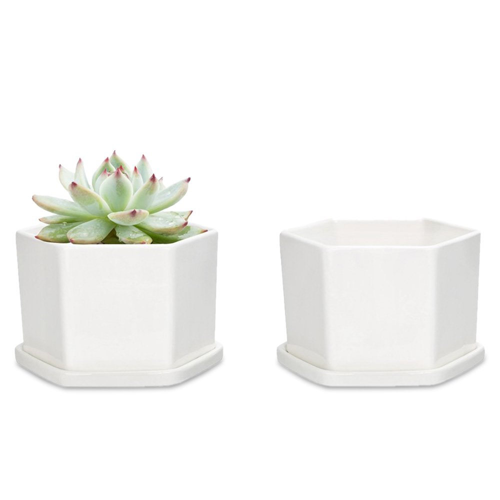 Mkono White Ceramic Succulent Plant Pots With Tray Hexagon Planter with Drainage, Set of 2